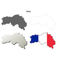 Orne Lower Normandy outline map set vector image vector image