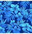Blue tropical flowers seamless pattern vector image