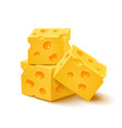 Cubes of yellow cheese on white background vector image