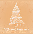 grunge card with doodle christmas tree and vector image