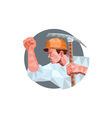 Coal Miner Pick Axe Pumping Fist Low Polygon vector image
