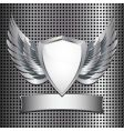 metallic shield background vector image
