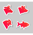 meat animals icons vector image