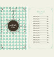 menu for the cafe with price list vector image