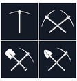 set of tools for excavation isolated vector image