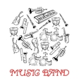 Sketched sound instruments for musical band vector image