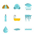 different water form icon set flat style vector image