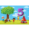 dFlashcard number 5 with five children in the park vector image