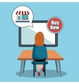 avatar woman and shopping icon vector image