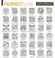 car repair service outline mini concept symbols vector image