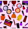 seamless flat pattern with perfumery and cosmetics vector image
