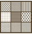 Set of 9 simple seamless monochrome patterns Part vector image