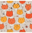 Seamless texture made with ink ginger cats faces vector image