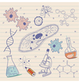 Biology sketches background in vintage style vector image vector image