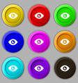 Eye Publish content icon sign symbol on nine round vector image