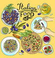 italian food- set of food color hand-draw vector image