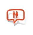 Man woman message sticker orange vector image
