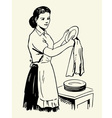 Woman drying dishes vector image vector image