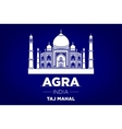 agra Taj Mahal india blue background vector image