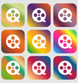 Film icon Nine buttons with bright gradients for vector image