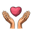 heart in open female human palms black vector image