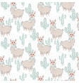 llama seamless pattern vector image