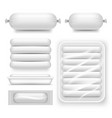 realistic blank white sausage pack set vector image