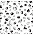 bw seamless sushi pattern vector image