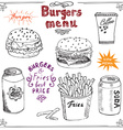 Burger Menu hand drawn sketch Fastfood Poster with vector image