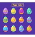 Set of Easter eggs cute cartoons vector image