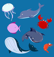 Cartoon sea Animals set dolphine whale shark in vector image