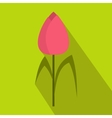 Pink tulip icon flat style vector image