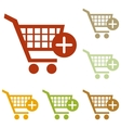 Shopping Cart with add Mark sign vector image