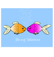 Fish in love vector image vector image