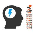 brain electric shock icon with dating bonus vector image