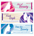 beauty salon banners set with beautiful vector image