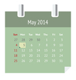 Calendar page for May 2014 vector image vector image