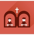 Flat icon with long shadow priests confession vector image