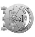 Half-open bank vault door on white vector image