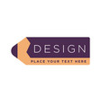 design studio logotype with text written on pencil vector image