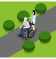 Disabled Retired People Life Isometric Banner vector image