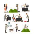 flat icons set of detective profession vector image