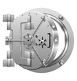 Half-open bank vault door on white vector image