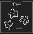 pasta stellini stars chalk sketch for italian vector image
