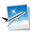 Photo frame with plane for travel design vector image
