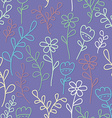 Seamless pattern with flowers and branches Lilac vector image