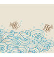 vintage sea background with fishes vector image