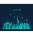 Zurich skyline silhouette linear vector image