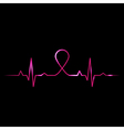 cardiogram with breast cancer symbol vector image