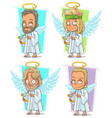 Cartoon angels with nimbus and harp character set vector image
